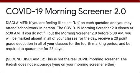 COVID-19 Morning Screener Survey 2.0