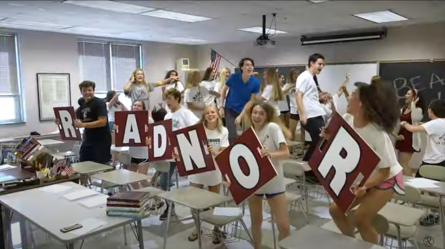 Radnor students celebrating in a scene from the 2019 LM video.