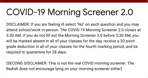 COVID-19 Morning Screener Survey 2.0